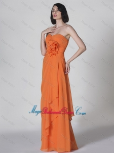 Popular Sweetheart Hand Made Flowers Bridesmaid Dresses in Orange