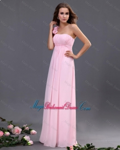2016 Empire One Shoulder Bridesmaid Dresses with Hand Made Flowers