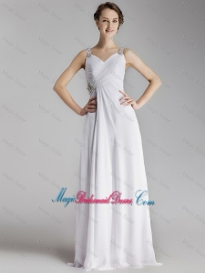 Beautiful Straps Brush Train Bridesmaid Gowns with Side Zipper