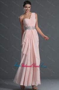 Discount Empire One Shoulder Bridesmaid Dresses with Ankle Length