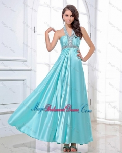 Gorgeous Halter Top Beading Ankle Length Aqua Blue Bridesmaid Dresses
