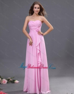 Modest Ruching and Hand Made Flower Bridesmaid Dress in Rose Pink