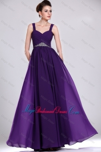 Perfect Straps Purple Bridesmaid Gowns with Ruching and Beading