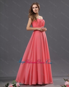 Beautiful Brush Train Beaded Bridesmaid Dresses in Watermelon