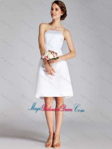 Luxurious Strapless Ruching Short White Prom Dresses