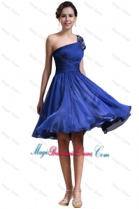 New Style One Shoulder Short Bridesmaid Dresses in Royal Blue