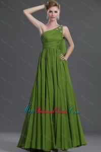Simple A Line One Shoulder Bridesmaid Dresses with Watteau Train