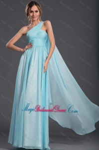 2016 Wonderful Light Blue Bridesmaid Dresses with Watteau Train
