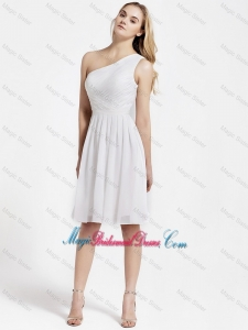 Beautiful Knee Length One Shoulder Bridesmaid Dresses in White