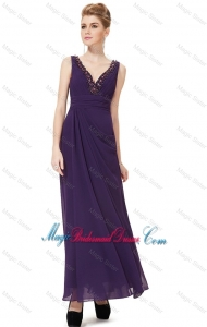 Discount V Neck Ankle Length Bridesmaid Dresses with Appliques