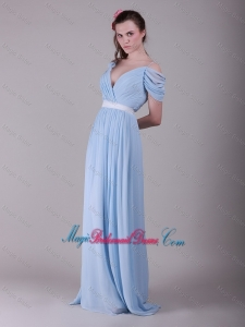 Exclusive Spaghetti Straps Light Blue Bridesmaid Dresses with Ruching and Belt