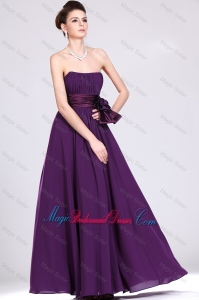 Fashionable Strapless Bridesmaid Dresses with Ruching and Bowknot