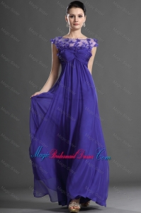 Luxurious Bateau Beading Bridesmaid Dresses in Royal Blue for 2016