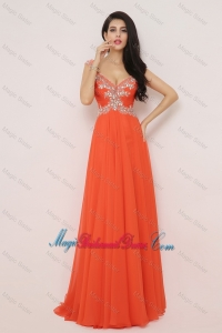 New Arrivals Brush Train Bridesmaid Dresses with High Slit and Beading