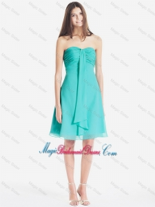 Classical Ruched Short Bridesmaid Dresses in Turquoise