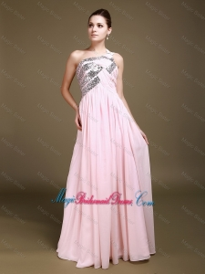 Delicate One Shoulder Baby Pink Bridesmaid Dresses with Sequins