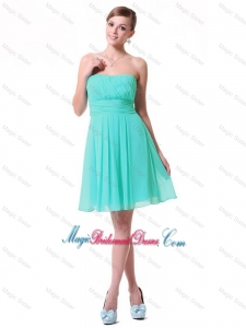 Discount Strapless Mini Length Bridesmaid Dresses in Turquoise