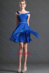 Discount Straps Beading Royal Blue Short Bridesmaid Dresses for 2016
