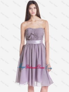 Exquisite Strapless Short Bridesmaid Dresses with Belt and Ruching