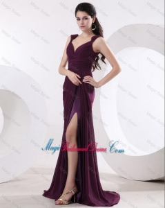 Most Popular Straps Brush Train Long Purple Bridesmaid Dresses with High Slit