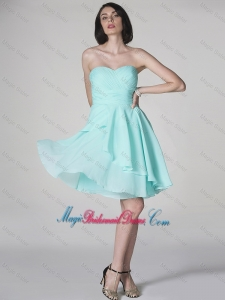 New Style Side Zipper Ruched Short Bridesmaid Dresses with Sweetheart