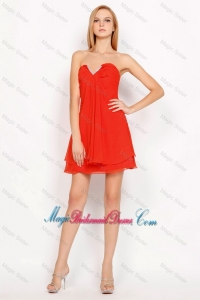Popular Sweetheart Beaded Side Zipper Bridesmaid Dresses in Red