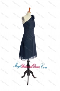 Brand New One Shoulder Hand Made Flowers Short Navy Blue Classic Bridesmaid Dresses