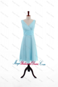 Custom Made Empire V Neck Knee Length Bridesmaid Dresses in Light Blue