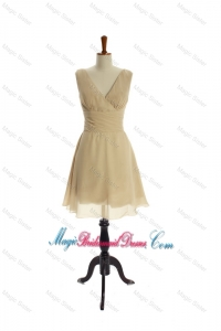 Luxurious Ruching Short Bridesmaid Dresses in Champagne
