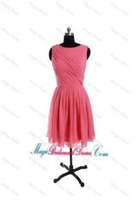 New Style Scoop Watermelon Short Bridesmaid Dresses with Ruching