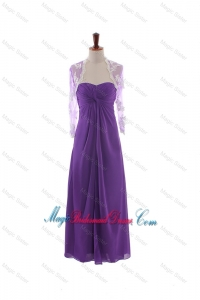 Pretty Empire Strapless Bridesmaid Dresses with Ruching in Eggplant Purple