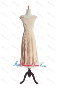 The Super Hot V Neck Pleats Bridesmaid Dresses in Champagne for 2016