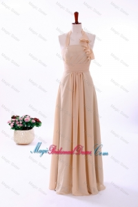 2016 Fall Empire Halter Top Bridesmaid Dresses with Ruching in Champagne