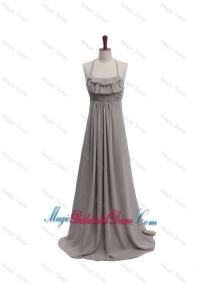 2016 Fall Empire Halter Top Ruching Bridesmaid Dresses with Brush Train