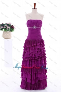 2016 Winter Popular Empire Strapless Beaded Bridesmaid Dresses with Ruffled Layers