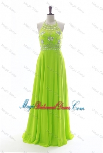 Brand New Halter Top Spring Green Long Bridesmaid Dresses with Beading