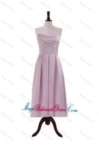 Cheap Sweetheart Lilac Short Classic Bridesmaid Dresses with Ruching for 2016