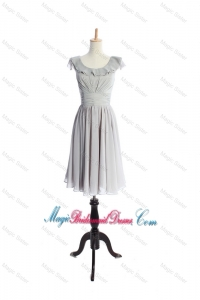Custom Made Scoop Short Ruffles and Pleats Bridesmaid Dress in Grey