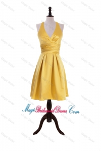 Exclusive 2016 Ruching Halter Top Short Bridesmaid Dress in Gold