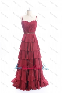 Exclusive Brush Train Belt and Ruffled Layers Classic Bridesmaid Dresses in Wine Red