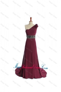 Gorgeous One Shoulder Burgundy Bridesmaid Dress with Beading and Belt
