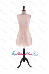 Most Popular Bateau Beading and Belt Short Formal Bridesmaid Dresses