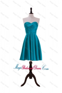 Most Popular Ruching Short Bridesmaid Dresses in Teal
