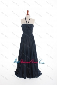New Style Navy Blue Long Bridesmaid Dresses with Pleats for 2016
