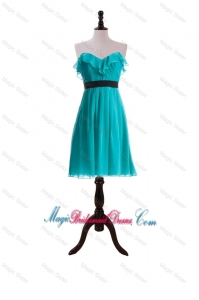 New Style Ruffles and Belt Short Bridesmaid Dresses in Turquoise