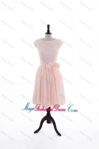 2016 Spring A Line Scoop Bridesmaid Dresses with Bowknot in Baby Pink