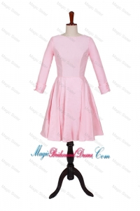 2016 Spring A Line Scoop Classic Bridesmaid Dresses with Ruching in Baby Pink