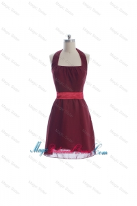Beautiful Halter Top Belt Burgundy Short Prom Dresses