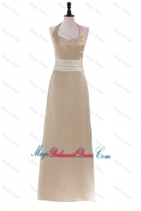 Champagne Halter Top Sweep Train Long Brand New Bridesmaid Dresses