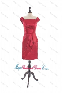 Custom Made Column Square Bridesmaid Dresses with Cap Sleeves in Taffeta